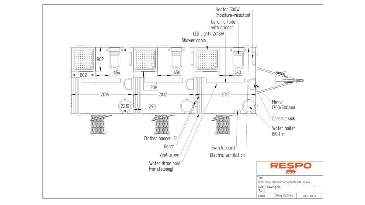 Baderomsvogn <br>RESPO 620 Trippel baderom 18