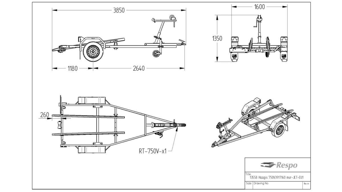 Vannscooterhenger <br>RESPO R 750 VS ECO 3