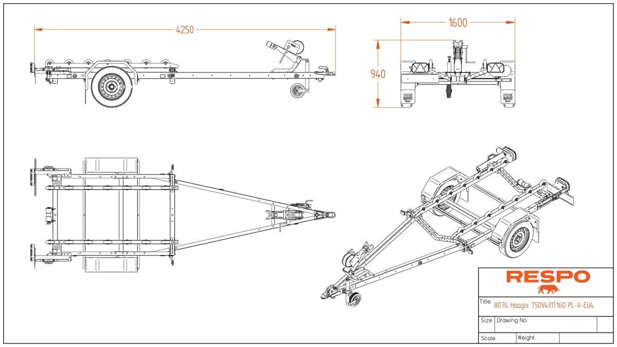 Båthenger <br>RESPO R 750 RS Singel 3